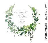 herbal vector frame. hand... | Shutterstock .eps vector #1605170494