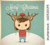 christmas card design  boy with ... | Shutterstock .eps vector #160520195