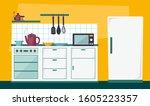 kitchen cartoon vector  ... | Shutterstock .eps vector #1605223357