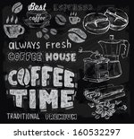 vector chalk coffee on... | Shutterstock .eps vector #160532297
