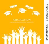 graduation poster design with... | Shutterstock .eps vector #1605339217