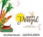 illustration of happy pongal...   Shutterstock .eps vector #1605412804