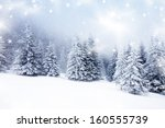 christmas background with snowy ... | Shutterstock . vector #160555739