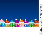 background with cartoon village ... | Shutterstock .eps vector #160558907