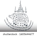pig tattoo  thai painting on... | Shutterstock .eps vector #1605644677