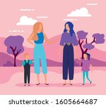 mothers with sons in park... | Shutterstock .eps vector #1605664687