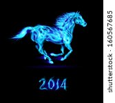 New Year 2014: running blue fire horse on black background. - stock vector