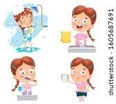little girl making personal care | Shutterstock .eps vector #1605687691