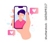 female hand holding smartphone... | Shutterstock . vector #1605699217
