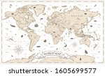 world map vintage cartoon... | Shutterstock .eps vector #1605699577