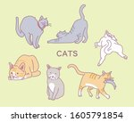 cute cats. hand drawn style...   Shutterstock .eps vector #1605791854