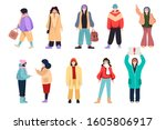 set of flat cartoon people in... | Shutterstock .eps vector #1605806917