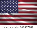 United States Flag Blowing In...