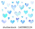 Set Of Blue Vector Hearts...