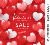 happy valentine's day sale... | Shutterstock .eps vector #1605912274