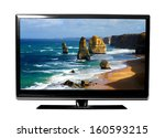 big tv screen with beautiful... | Shutterstock . vector #160593215