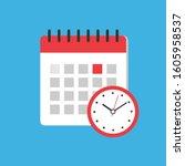 calendar and clock icon. flat...