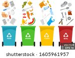 garbage. simple flat style.... | Shutterstock .eps vector #1605961957