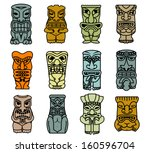 tribal ethnic masks and totems... | Shutterstock .eps vector #160596704