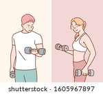 Athletic Man And Woman With A...