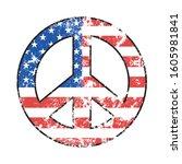 peace symbol on american flag...   Shutterstock .eps vector #1605981841