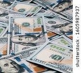 cash of hundred dollar bills ... | Shutterstock . vector #1605987937