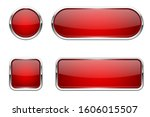 web buttons. red shiny icons... | Shutterstock .eps vector #1606015507