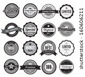 set of retro vintage badges and ... | Shutterstock .eps vector #160606211