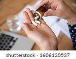 sick ill woman hold pills on... | Shutterstock . vector #1606120537
