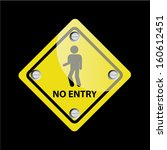 no entry sign on black... | Shutterstock . vector #160612451