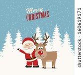 santa claus and reindeer snowy...