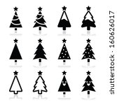 christmas tree vector icons set