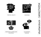 Mental Disorder Glyph Icons Se...