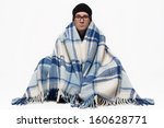 ill man covered with plaid... | Shutterstock . vector #160628771