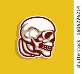 skull side view with vintage... | Shutterstock .eps vector #1606296214