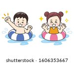 children are swimming with... | Shutterstock . vector #1606353667