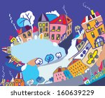 christmas card with funny town... | Shutterstock .eps vector #160639229