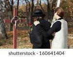 two women grieving following... | Shutterstock . vector #160641404