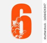 6 number orange font vector | Shutterstock .eps vector #1606424347