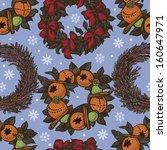 christmas wreaths pattern on a... | Shutterstock .eps vector #160647971