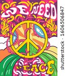 vibrant colorful we need peace... | Shutterstock .eps vector #1606506847