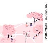 cherry blossom trees in park ... | Shutterstock .eps vector #1606508107