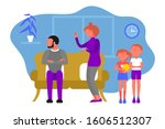 caucasian couple of man and... | Shutterstock . vector #1606512307