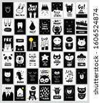 big set of monochrome black and ... | Shutterstock .eps vector #1606524874
