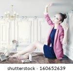 beautiful young girl in little... | Shutterstock . vector #160652639
