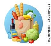 grocery bag. cartoon... | Shutterstock . vector #1606584271