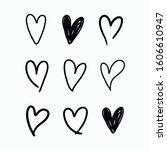 vector set of doodle hand drawn ... | Shutterstock .eps vector #1606610947