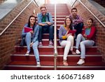 group portrait of young college ... | Shutterstock . vector #160671689