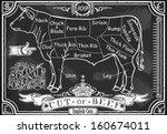 vintage butcher blackboard cut...   Shutterstock .eps vector #160674011