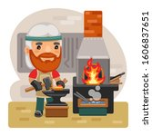 cartoon blacksmith works on the ...   Shutterstock .eps vector #1606837651
